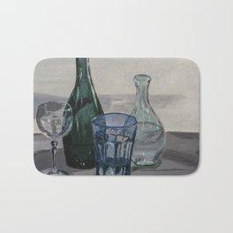 Bottles, glasses, still life with wine glass Bath Mat