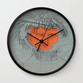 Orange Punk Lady, artistic image, 70's Wall Clock