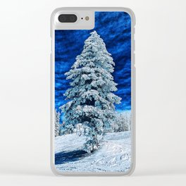 A snow tree in blue Clear iPhone Case