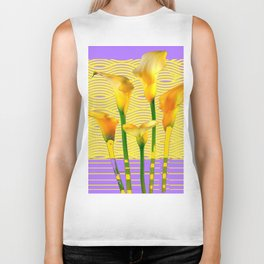Gold-Lilac Color Calla Lilies Pattern Biker Tank