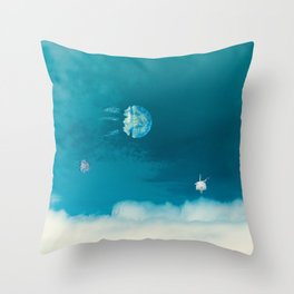 Time Rabbit and jellyfish Throw Pillow