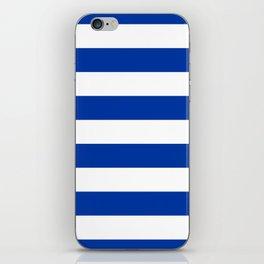 Dark Princess Blue and White Wide Horizontal Cabana Tent Stripe iPhone Skin