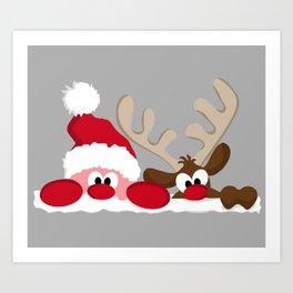 Santa & Reindeer Art Print