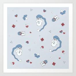 Snow boy pattern Art Print
