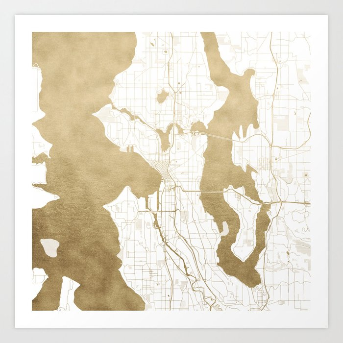 Seattle White And Gold Map Art Print By Mapmaker Society6