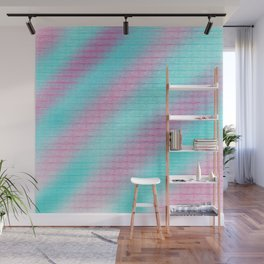 Artistic hand painted pink teal geometrical pattern Wall Mural