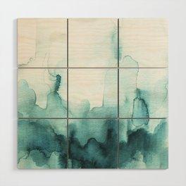 Soft teal abstract watercolor Wood Wall Art