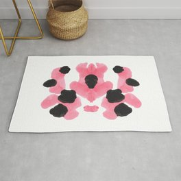 Pink Heart Inkblot Colorful Organic Pattern Rug