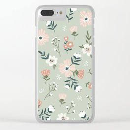 Seamless Pink Salmon Flower Pattern Pastel Green Background Mystical Pastel Colors Clear iPhone Case