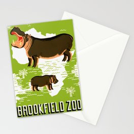 Vintage African Hippo Zoo Ad Stationery Cards