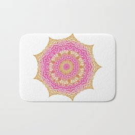 Summery pink and gold mandala design Bath Mat
