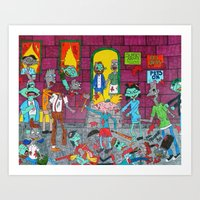 hey arnold Art Prints featuring Hey Arnold Zombie by tonitiger415
