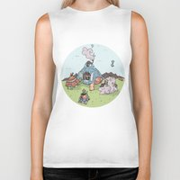 library Biker Tanks featuring Turtle Library by mumblethief