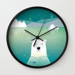 Happy Polar Bear Wall Clock