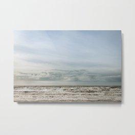 Oceanview Sunset Blue sky clouds landscape photography - Pastel colored image - Framed Canvas Art Work Metal Print