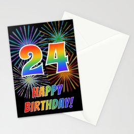"24th Birthday ""24"" & ""HAPPY BIRTHDAY!"" w/ Rainbow Spectrum Colors + Fun Fireworks Inspired Pattern Stationery Cards"