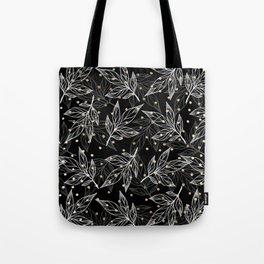 Black white gray faux gold polka dots floral Tote Bag