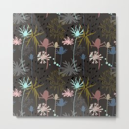 Floral pattern with meadow plants and flowers : cornflowers, thistles and grasses Metal Print