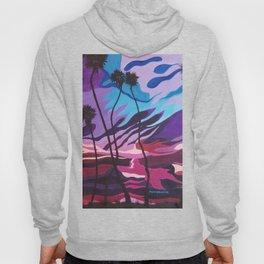Palm Picnic, Sunset Beach, Modern Sunset, Abstract Sunset at Beach Painting Hoody