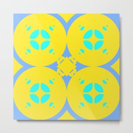 025 Abstract yellow, cyan and blue art for home decoration Metal Print