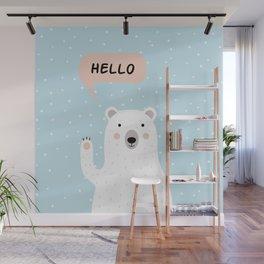 Cute Polar Bear in the Snow says Hello Wall Mural