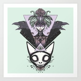 Witch, Crows, Cat Skull, And All Seeing Eye Of Providence Art Print
