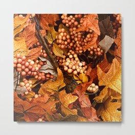 Autumn Leaves and Fall Berries Metal Print