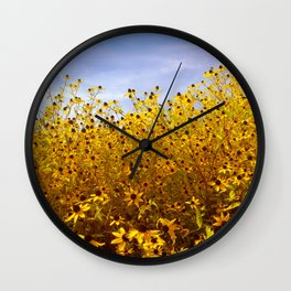 Bright bold yellow daisy blooming edge in summer against blue sky Wall Clock