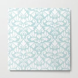 Flourish Damask Big Ptn White on Duck Egg Blue Metal Print