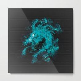 Blue dragon dragon in black Metal Print