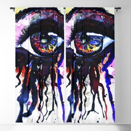 Rainbow eye splashing watercolor and ink Blackout Curtain