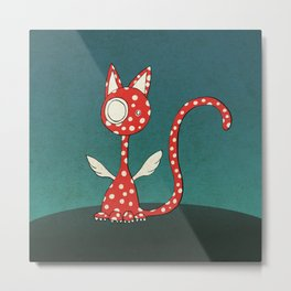 Winged polka-dotted red cat Metal Print