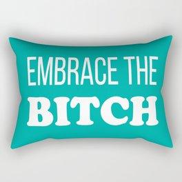 Embrace The B*tch - Profanity Funny Aqua and White Rectangular Pillow