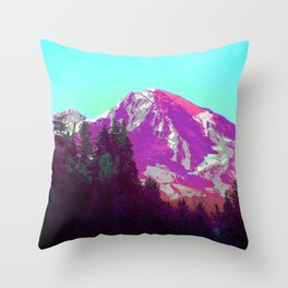 Mountain High Vaporwave Washington Forest Throw Pillow