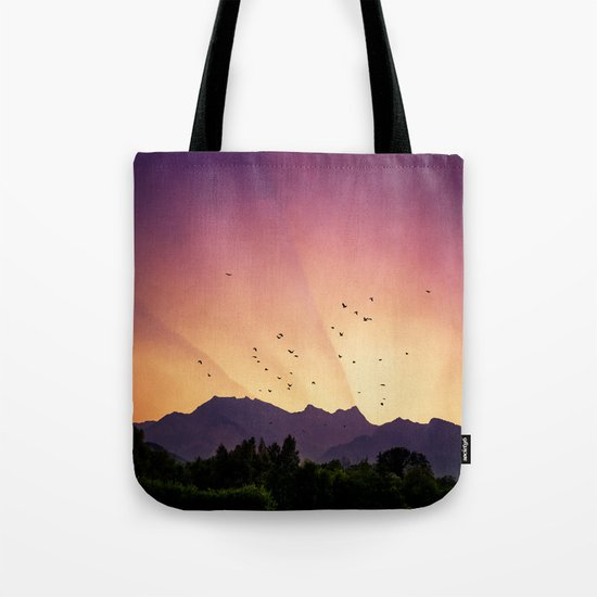 pink skies and purple mountains Tote Bag