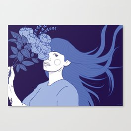 Flowers in her head Canvas Print