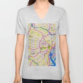 Tokyo Map Design Unisex V-Neck