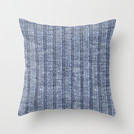 Denim Blue Jersey Knit Pattern Throw Pillow