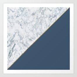Elegant mauve blue white marble faux gold geometric Art Print
