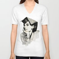 audrey V-neck T-shirts featuring Audrey by Krzyzanowski Art