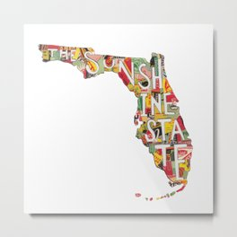 Florida: The Sunshine State - Vintage Collage Metal Print