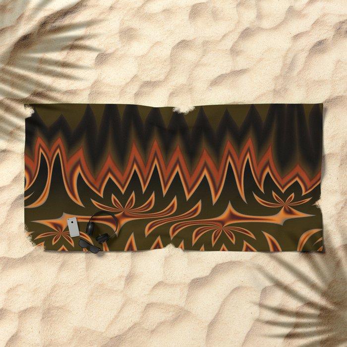 Fractal Tribal Art in Autumn Beach Towel
