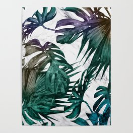 Tropical Palm Leaves on Marble Poster