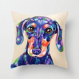 Peanut - Daschund Sausage Dog Art Throw Pillow