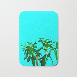 Good Luck Succulent Tree on Sky Blue Bath Mat