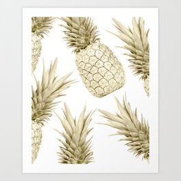 Gold Pineapple Party Art Print