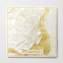 Montreal Map Gold Metal Print