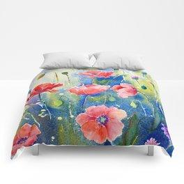 Watercolor red poppy field, wildflower meadow Comforters