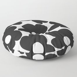 Black Retro Flowers White Background #decor #society6 #buyart Floor Pillow