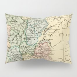 Old Map of the East of France Pillow Sham